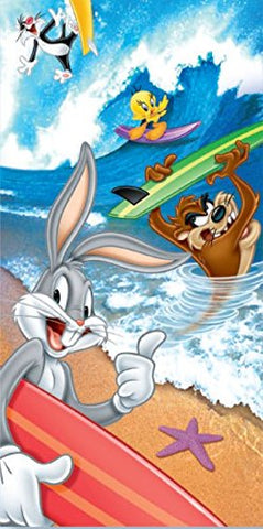 Royal Plush Beach Towel (30 inch  x 60 inch ) - Looney Toons Surf