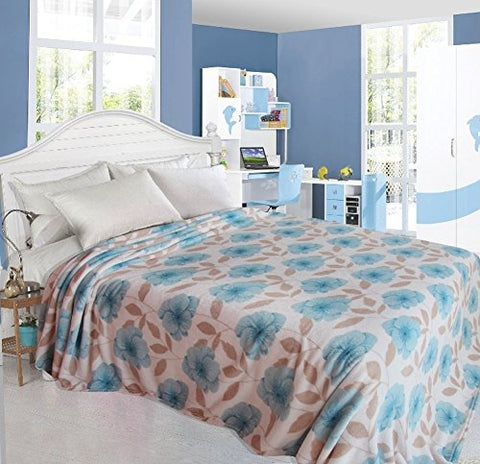 Ultra Soft Primrose Design Queen Size Microplush Blanket - Blue