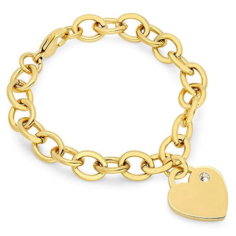 Lady's 18K Gold Plated Stainless Steel Rolo Bracelet with Swarovski Elements Heart Charm