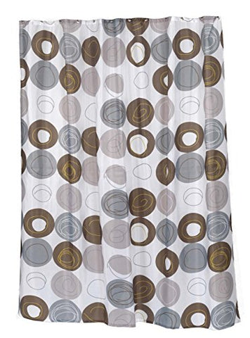 BenandJonah Collection Fabric Shower Curtain 70 x 72 inch  Brown Dotted