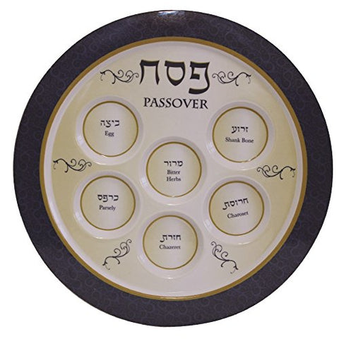 Ben and Jonah Melamine Blue Seder Plate Round-12 inch D