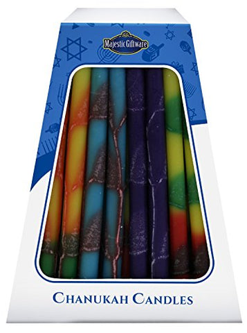 Lamp Lighters Ultimate Judaica Chanukah Candles - European Collection - 45 Pack - Orange/Purple/Yellow/Teal - 6 inch