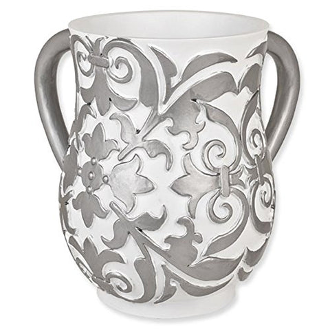 Ultimate Judaica White and Silver Floral Resin Wash Cup (Netilat Yadayim) - 6.25 inch  H