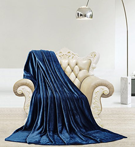 Ultra Lush Shiny Velvet Queen Size Microplush Blanket (90 inch  x 90 inch ) - Navy