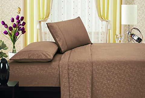 Ben&Jonah Designer Plush King Flower Embossed Sheet Set -Latte/Mocha