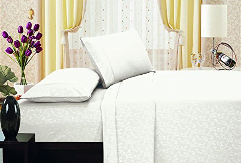 Ben&Jonah Designer Plush Twin Flower Embossed Sheet Set -White