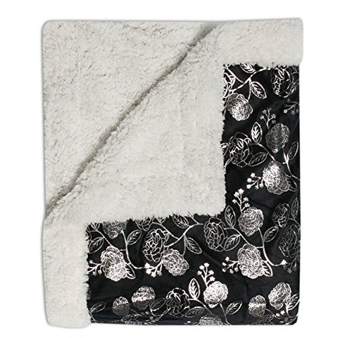 Ben&Jonah Designer Plush 50 inch  x 60 inch  Soft-Silver Flower-Throw-Blanket -Black