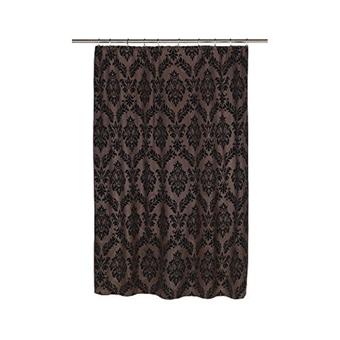 Park Avenue Deluxe Collection  inch Regal inch  Fabric Shower Curtain with Poly Taffeta Flocking in Black/Brown
