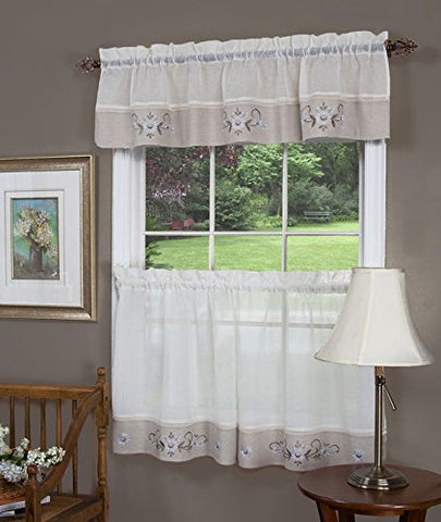 Park Avenue Collection Hamilton Tier Pair and Valance Set 58x36/ 58x14 - Linen