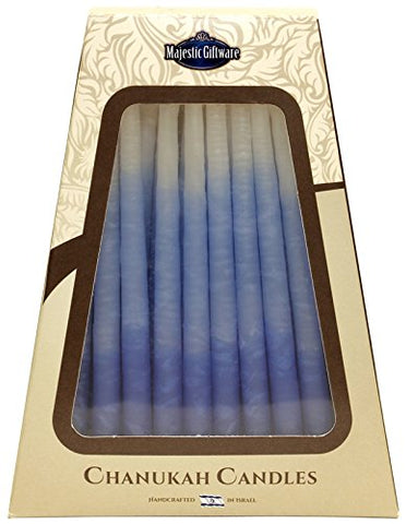 Lamp Lighters Ultimate Judaica Safed Chanukah  Candles - 45 Pack - Blue/White - 6 inch