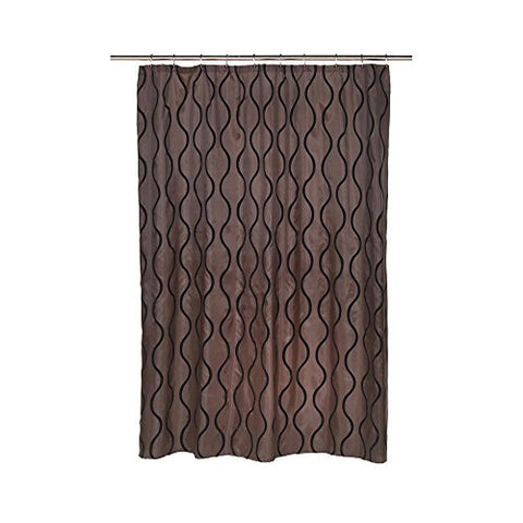 Park Avenue Deluxe Collection Park Avenue Deluxe Collection  inch Geneva inch  Fabric Shower Curtain with Poly Taffeta Flocking in Black/Brown