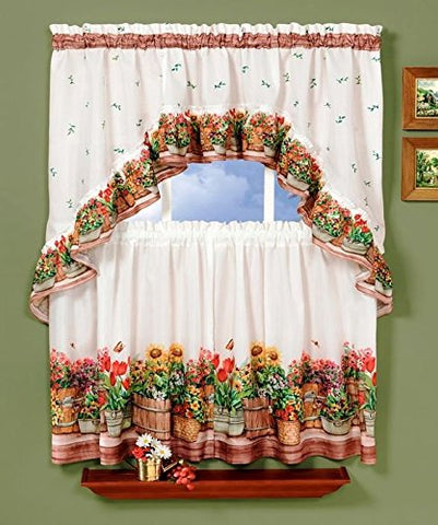 Park Avenue Collection Country Garden Printed Tier and Swag Set - 57x36 Tier Pair/57x30 Swag - Multi