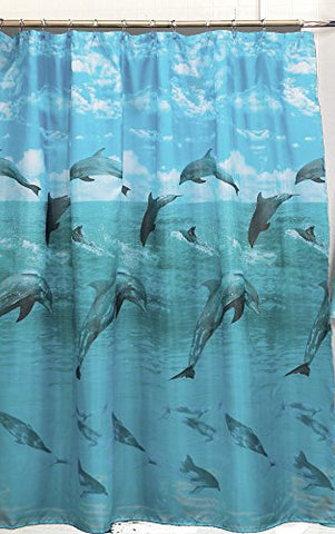 Atlantis Collection Dolphin Design Fabric Shower Curtain Size: 70 inch  x 72 inch