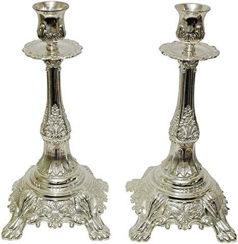 Ultimate Judaica Silver Plated Candle Sticks- 13 inch  H