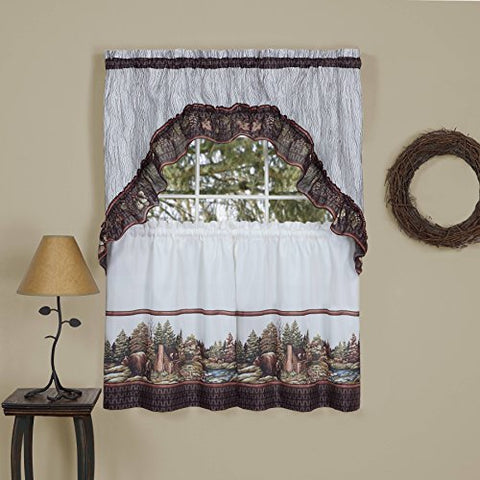 Into the Woods Kitchen Curtain Tier and Swag Set (57 inch  x 24 inch )