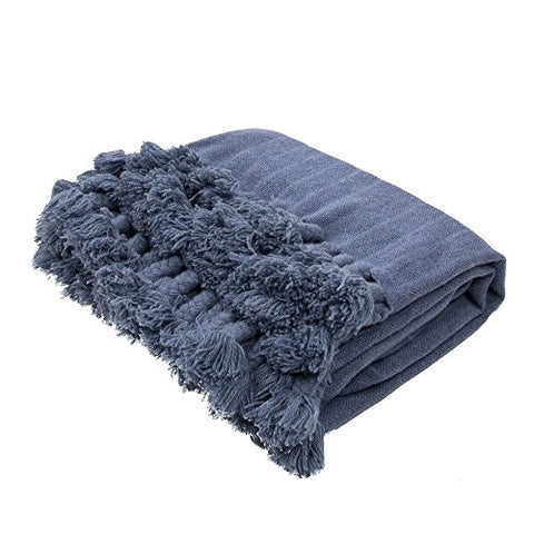 Ben and Jonah Striped Wool Throw Blanket (Blue)