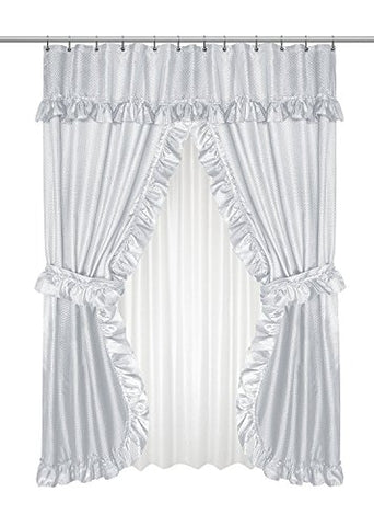 Park Avenue Deluxe Collection Park Avenue Deluxe Collection  inch Lauren inch  Double Swag Shower Curtain Silver