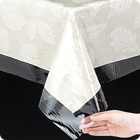 Spill-Guard Clear 3 Guage Vinyl Tablecloth Protector - Oblong (60'' W x 120'' L)