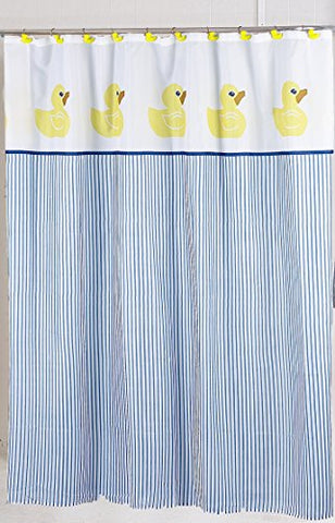 BenandJonah Collection Fabric Shower Curtain 70 x 72 inch  Yellow Rubber Ducky