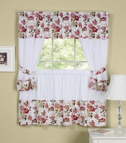 Ben&Jonah Collection Wisteria Embellished Cottage Window Curtain Set - 58x24 Tailored Tier Pair/58x36 Tailored Topper with attached swaggers and tiebacks. - Rose