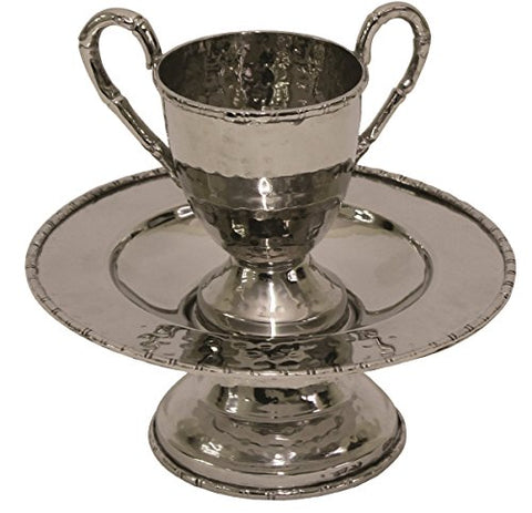 Beracha Collection Stainless Steel Mayim Achronim set (Bowl 5.5 inch W X 2.5 inch H Cup 2.25 inch W X 3 inch H 2 Silver Hadles)