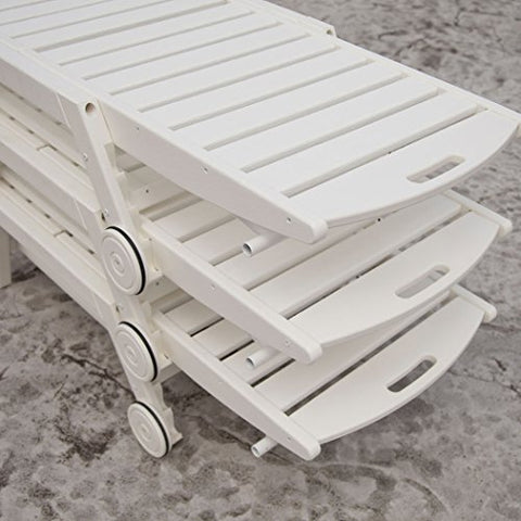 Eclipse Collection Nautical Stackable Outdoor Chaise 6.5'L x 27 inch W x 3.25'H (Eco Friendly Made in the USA) (With Wheels White)