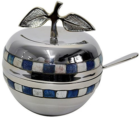 L'Shanah Tovah Happy&Healthy Honey Dish Nickel Blue/White With Glass Insert 5 inch H