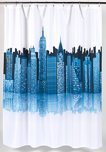 BenandJonah Collection Collection Fabric Shower Curtain 70 x 72 inch  Metropolitan Cityscape