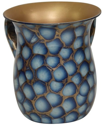 Ultimate Judaica Wash Cup Stainless Steel Blue/Gold Marble - 5.5 inch H