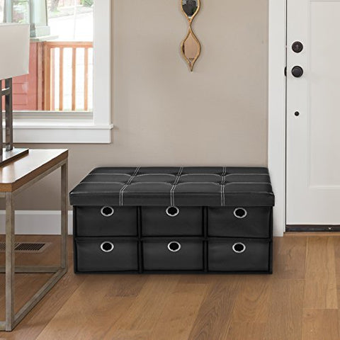 Ben&Jonah Collection Collapsible 6 Drawer Storage Ottoman - Black Faux Leather 30x15x15