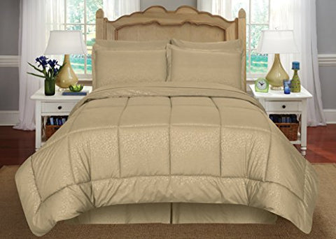 Ben&Jonah Queen Size 8 Piece Vine Down Alternative Bed N Bag  (86 inch  x 86 inch ) - Mocha
