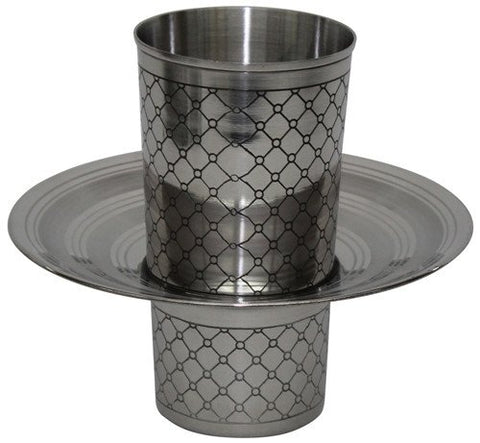 Beracha Collection Stainless Steel Mayim Achronim set (Bowl 3 inch H 6.75 inch W Cup 4 inch  H 3 inch W No Handles - Silver)