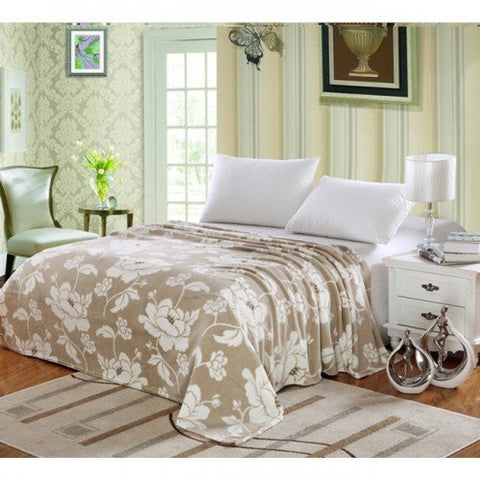 Ben&Jonah Designer Plush Queen Madison Micro Fleece Jacquard Blanket -Beige