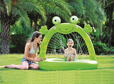By PoolCentral 51 inch  Green Inflatable Spotted Happy Frog Children's Spray Pool