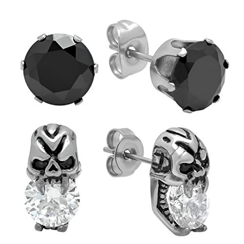 Unisex 2 Pair Stainless Steel Earring Set of One Black Stone Stud and One Gothic Skull Stud with CZ