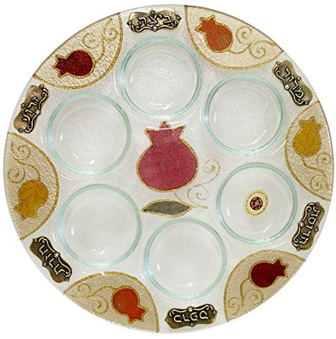 Ben and Jonah Glass Art Pomegranate Seder Plate 12 inch D