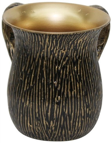Ultimate Judaica Wash Cup Stainless Steel Gold/Black 5.5 inch H