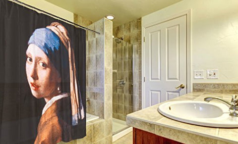 Royal Bath Coquete Girl with the Pearl Earring Fabric Shower Curtain Size: 70 inch  x 72 inch