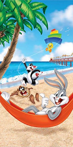 Royal Plush Beach Towel (30 inch  x 60 inch ) - Looney Toons Beach