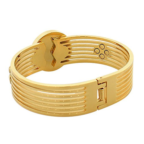 EDFORCE Stainless Steel Yellow Gold-Tone Simulated Mother-of-Pearl Floating CZ Bangle Bracelet