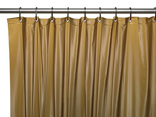 Royal Bath Heavy 3 Gauge Vinyl Shower Curtain Liner with Weighted Magnets and Metal Grommets (72 inch  x 72 inch ) - Gold