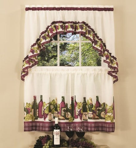 Park Avenue Collection Chardonnay Printed Tier and Swag Set - 57x24 Tier Pair/57x30 Swag - Burgundy
