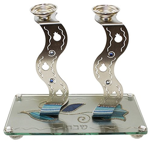 Ultimate Judaica Lazer Cut Candle Stick With Tray Applique - Ocean Blue  - Tray 9 3/4 inch W X 5 inch  L Candle Sticks 7 inch H