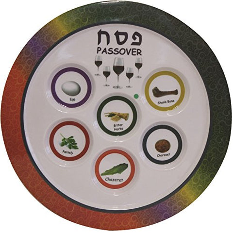 Ben and Jonah Melamine Colorful Seder Plate Round -12 inch D