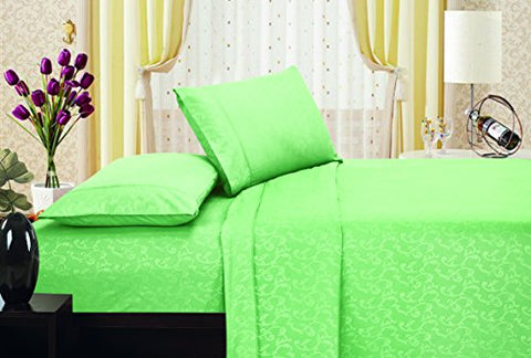 Ben&Jonah Designer Plush King Flower Embossed Sheet Set -Lt. Green