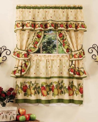 Park Avenue Collection Apple Orchard Cottage Set - 57x24 Tier Pair/57x36 Ruffled Topper with attached valance and tiebacks. - Antique
