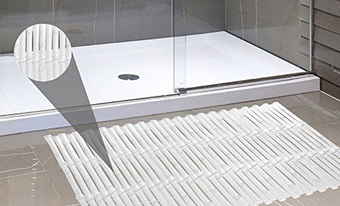Park Avenue Deluxe Collection Park Avenue Deluxe Collection Bamboo Look Vinyl Bath Tub Mat Size 16 inch  x 32 inch  in Super Clear