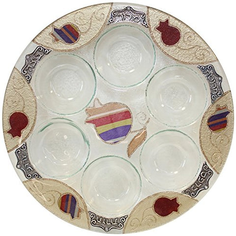 Seder Plate Round - Purple Pomegranate - 12 inch  D