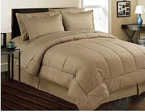 ComfortLiving Down Alternative 8 Piece Embossed Comforter Set - Mocha (Queen)