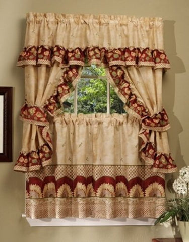Park Avenue Collection Sunflower Cottage Set - 57x24 Tier Pair/57x36 Ruffled Topper with attached valance and tiebacks. - Antique